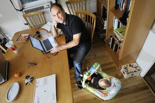 Matthew Dicks, an elementary school teacher and novelist has adapted his time for writing to whenever he can sit for 15 munites of more. In order to keep his 3 month-old Charlie sleeping he rocks his son using his foot while writing at the kitchen table.